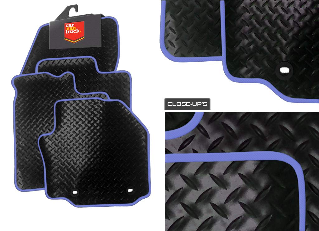 KIA PICANTO 2004-2010 TAILORED CAR FLOOR MATS BLACK CARPET WITH RED TRIM