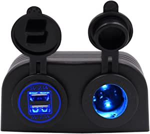 BlueFire Two Hole Tent Type Panel 4.2a Dual USB Charger + 12V/24V Cigarette Lighter Socket for Car Motorcycle Boat Marine ATV RV