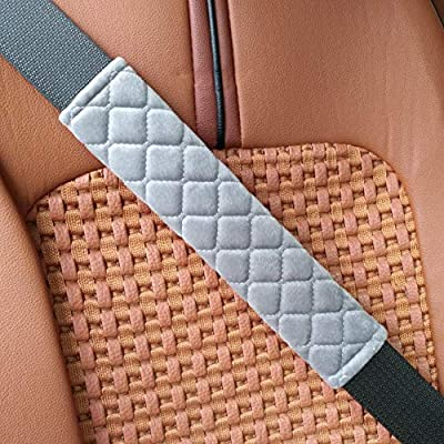 MIKAFEN Universal Car Seatbelt Pads Cover,Seat Belt Shoulder Strap Covers Harness Pad Car/Bag,Soft Comfort Helps Protect You Neck Shoulder from The Seat Belt Rubbing Gray (2-Pack): Automotive