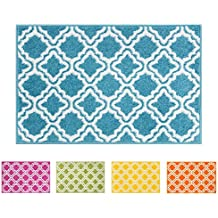 "Small Rug Mat Doormat Well Woven Modern Kids Room Kitchen Rug Calipso Blue 1'8"" x 2'7"" Lattice Trellis Accent Area Rug Entry Way Bright Carpet Bathroom Soft Durable"