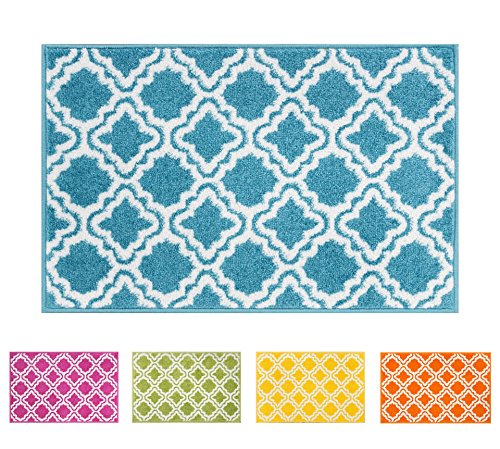 Small Rug Mat Doormat Well Woven Modern Kids Room Kitchen Rug Calipso Blue 1'8