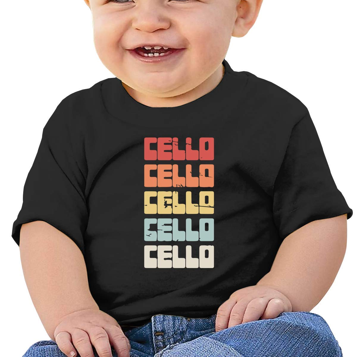 Vintage Cello Text Toddler Baby Newborn Short Sleeve Tee Shirt 6-24 Month Soft Tops