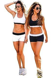 Ensemble Yoga Femme Sport Soutien Gorge et Shorty Elastique Legging Taille  Haute Fitness Survêtement Gym Tenue… ff8b1e114b33