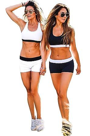b62530a2e8e7 Ensemble Yoga Femme Sport Soutien Gorge et Shorty Elastique Legging Taille  Haute Fitness Survêtement Gym Tenue