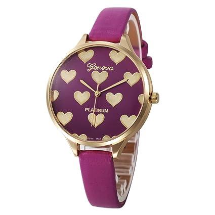 Xinantime Relojes Mujer,Xinan Reloj de Pulsera Analógico de Cuarzo Cuero Imitación (Rosa Caliente