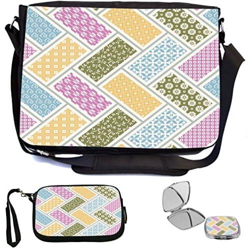 Rikki Knight Patchwork Color Blocks Design Design COMBO Multifunction Messenger Laptop Bag - with padded insert for School or Work - includes Wristlet & Mirror
