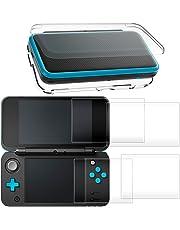 Custodia per New Nintendo 2DS XL con Pellicola Protettiva, AFUNTA Coperture Protettive Trasparenti Antigraffio, Pellicola Protettiva di Vetro Temperato per Schermo Superiore e Inferiore