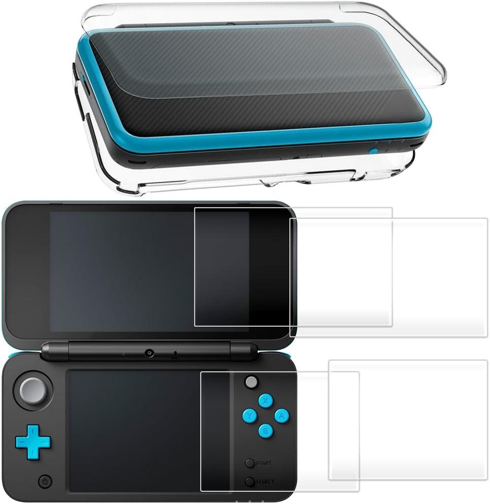 Funda rígido para Nintendo New 2DS XL con Protector de Pantalla, AFUNTA Case dura y transparente, con 4 Vidrio templado Películas de protección para pantalla superior e inferior: Amazon.es: Electrónica