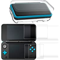 Hard Case for New Nintendo 2DS XL with 2 Packs Screen Protector, AFUNTA Anti-Scratch Crystal Clear Case, with 4 Pcs…