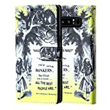 Note 8 Wallet Case Alice Quotes, DURARMOR Alice in Wonderland Bonkers Quote PU Leather Folio Wallet with ID, Credit Card, Cash Slots Flip Stand Cover Protector Carrying Case for Galaxy Note 8 Alice