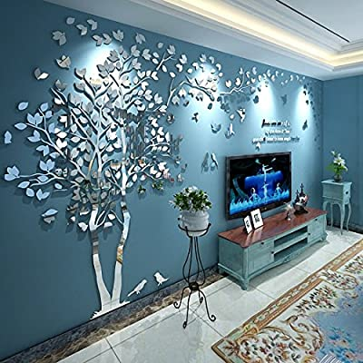 N.SunForest 3D Crystal Acrylic Couple Tree Wall Stickers Silver Self-Adhesive DIY Wall Murals Home Decor Art