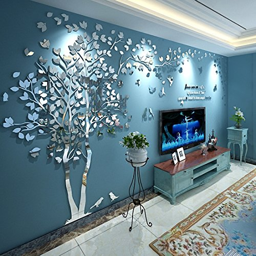 N.SunForest 3D Crystal Acrylic Couple Tree Wall Stickers Silver Self-Adhesive DIY Wall Murals Home Decor Art - Large ()