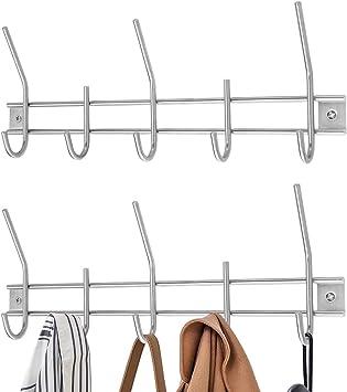 DOUBLE COAT PEGS 4x Hanging Hook Silver Cloakroom School Office Door Wall Hanger