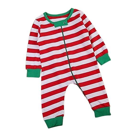 Magiyard Bebé niños Navidad Manga Larga Rayas Romper Jumpsuit Trajes de Pijamas (12M, Rojo