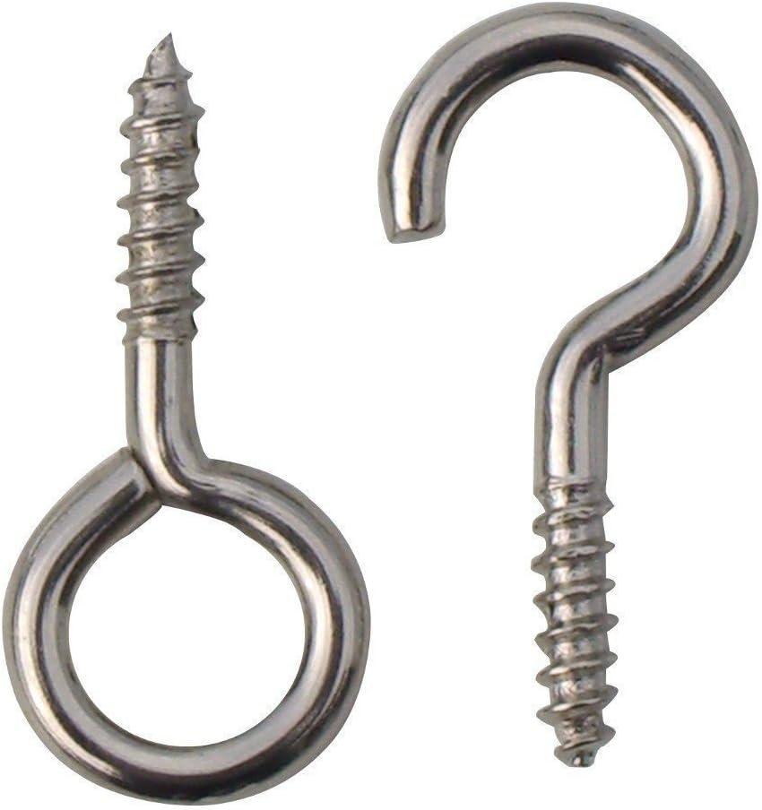 20 x Hooks and eyes 25mm net wire curtain screws - 10 x hooks & 10 x eyes