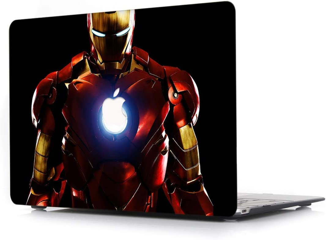 "Case for MacBook Air 13 Inch 2018 - L2W Laptop Accessories Hard Plastic Printed Cover Compatible with Mac Air New 13.3"" with Retina & Touch ID, Model: A1932, Protection Shell of Design Iron Man"