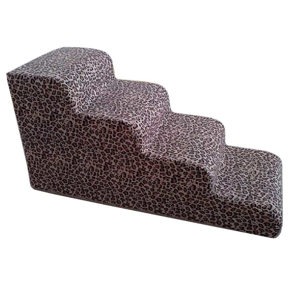 LXLA Pet Dogs Stairs, 4 Steps Ladder with Leopard Cover, Best for Small to Medium Pets, 80 × 40 × 40cm