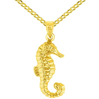 High Polish 14K Yellow Gold 3D Seahorse Charm Animal Pendant Necklace