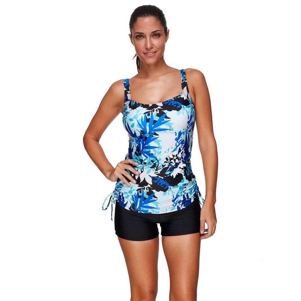 Lover-Beauty Retro Plus Size Floral Halter Tankini Set Swimsuit,White,US Size 8-10(M)