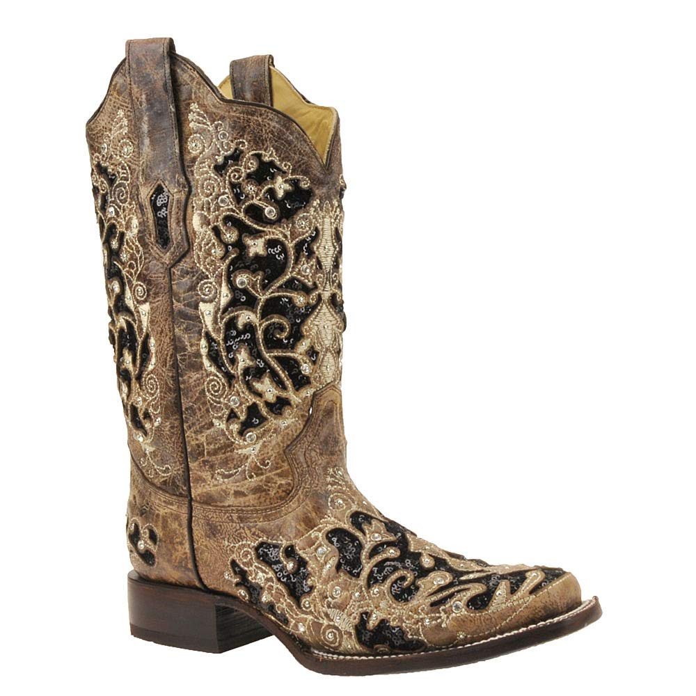 CORRAL Women's Sequin Inlay Western Boot Square Toe Brown 9.5 M by CORRAL