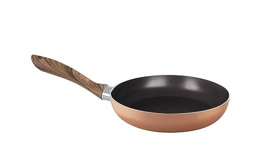 Sartén de acero inoxidable con revestimiento de cobre, antiadherente,con mango de madera y adecuada para lavavajillas, 24 cm: Amazon.es: Hogar