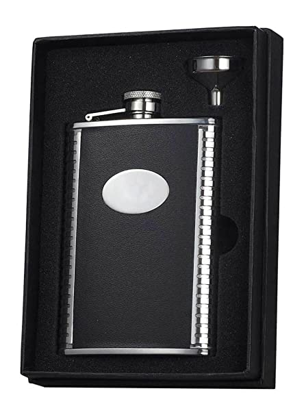 Buy Visol Holiday Essential Ii Tux Ribbed Design Black Leather Liquor Flask Gift Set 8 Oz Silver Online At Low Prices In India Amazon In