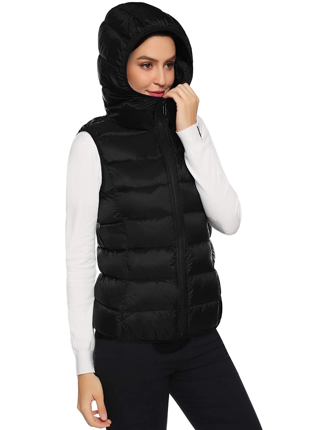 Hawiton Womens Hooded Packable Ultra Lightweight Down Vest Outdoor Puffer Vest Down Gilet Coat