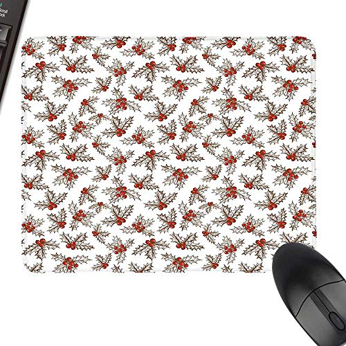 Christmas Hot Selling Extra Large Mouse Pad Winter Season Harvest Holly Berries Vintage Floral Composition Ornate Leaves Keyboard Mouse Pad 11.8