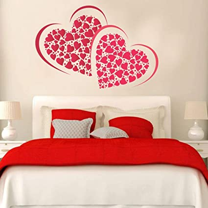 PRINTELLIGENT Heart Wall Sticker for Couple Bedroom. Heart Love Decorative Wall Vinyl Stickers for Valentine