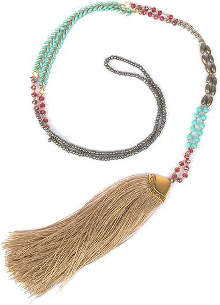Collar de Perlas Cadena Cuerda del Boho Encanto Pendiente Borla Flecos - Marrón Claro