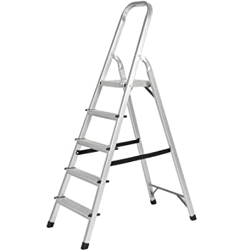 Cool 5 Step Aluminum Foldable Lightweight Ladders Large Platform Machost Co Dining Chair Design Ideas Machostcouk