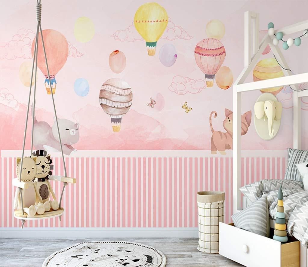 Amazon Com Murwall Kids Wallpaper For Girls Pink Sky Wall Paper Cute Cat Wall Murals Watercolor Hot Air Balloon Wall Print Nursery Bedroom Handmade