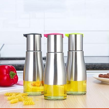 Botella Aceite Vinagrera con Dispensador de Aceite Girar Alta Precisión VidrioTransparente Acero Inoxidable para Aceite/
