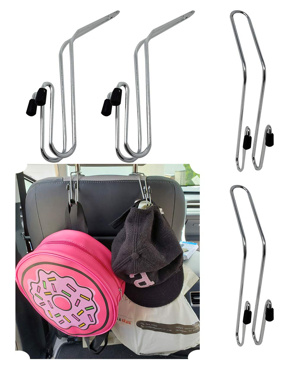 4 Pack Car Auto Mini Hook Hanger Headrest Backseat Multi-Purpose for Bags and Handbags car Hooks for Grocery Bags /& Purse