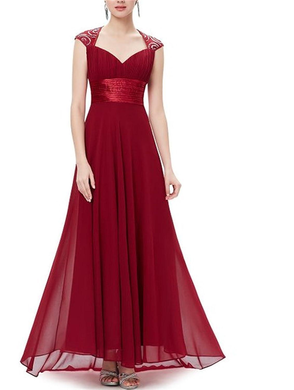 HelloGirls Women's Chiffon Sexy V-Neck Ruffles Empire Line Evening Dress