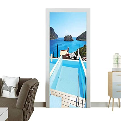 Amazon.com: Door Decals Swimming Pool Hotel Island Crete Greece ...