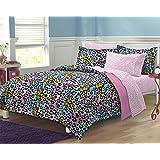 My Room Neon Leopard Ultra Soft Microfiber Girls Comforter Set, Multi-Colored, Queen