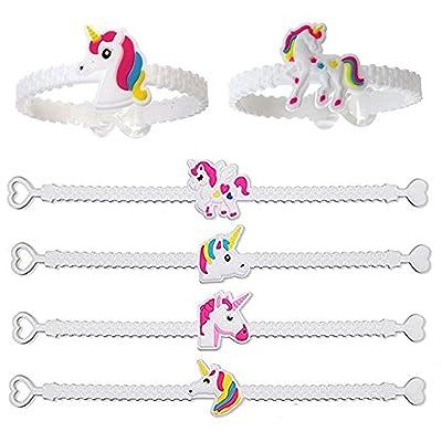12/24pcs Bracelets licorne en caoutchouc Fête d'anniversaire Cadeau Enfants Filles plusieurs couleurs (12pcs)