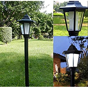 Royal Court Style Outdoor Garden Led Solar Lamp Post Lantern Stake Light Solar Powered Pathway Fence Yard Lighting 2.26 ft Tall (White)