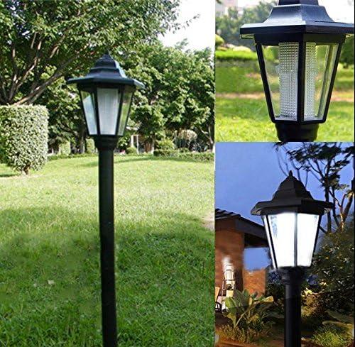 Farola de energía solar para jardín, iluminación de patios, caminos y vallas de estilo de corte real, Blanco, 16x16x61.5cm 2.0volts: Amazon.es: Hogar