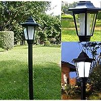 Farola de energía solar para jardín, iluminación de patios, caminos y vallas de estilo de corte real, Blanco, 16x16x61…