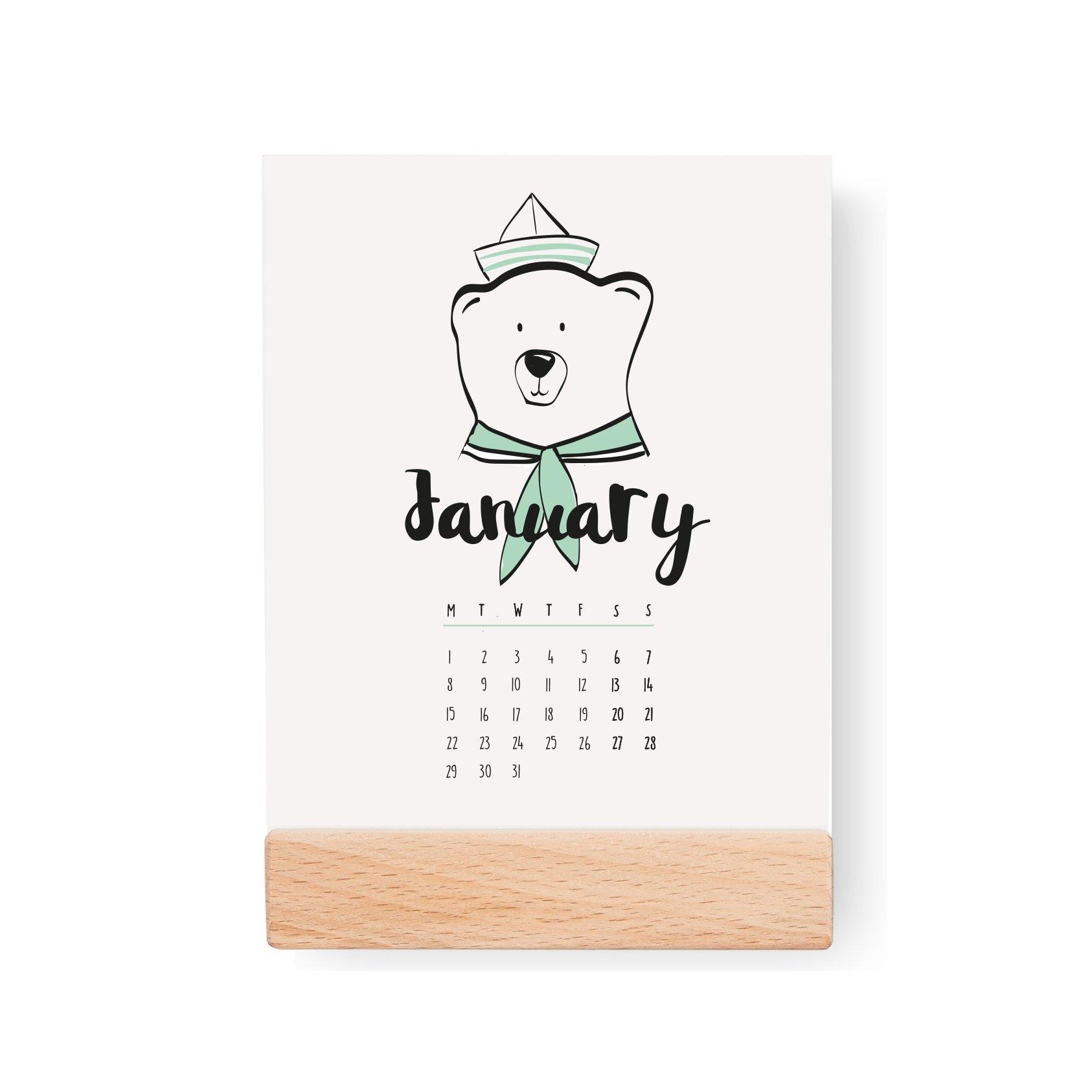 2018 Desktop Kids Calendar, Nursery Calendar, 2018 Calendar, Colorful Calendar, Card Stock Paper, Modern Calendar, Christmas Gift Idea by Lovely Decor