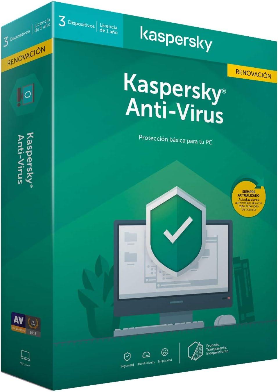 Kaspersky Renovacion Kav 2020 - Antivirus, 3 Licencias, 1 Año