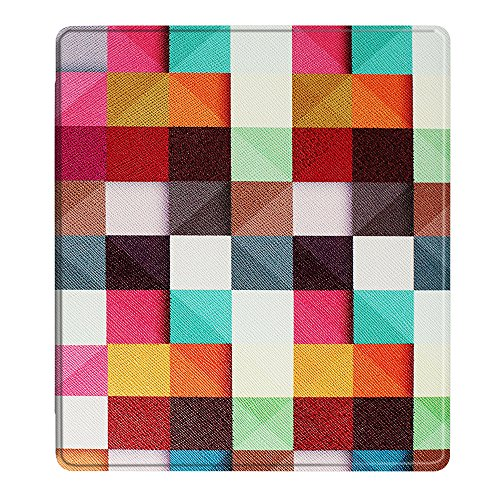 Happon Kindle Oasis 2017 Case,[ Shock Absorbent ] Leather Case PU Leather Kickstand Wallet Cover Durable Flip Case for Kindle Oasis 2017 Colorful Squares by Happon