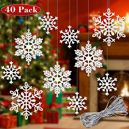 Whaline 40 Pcs 2020 New Year Hanging Decorations Winter White Glitter Snowflake Hanging Ornaments with 197 Inches Silver Rope, Winter Theme Decorations Home Window Door Accessories