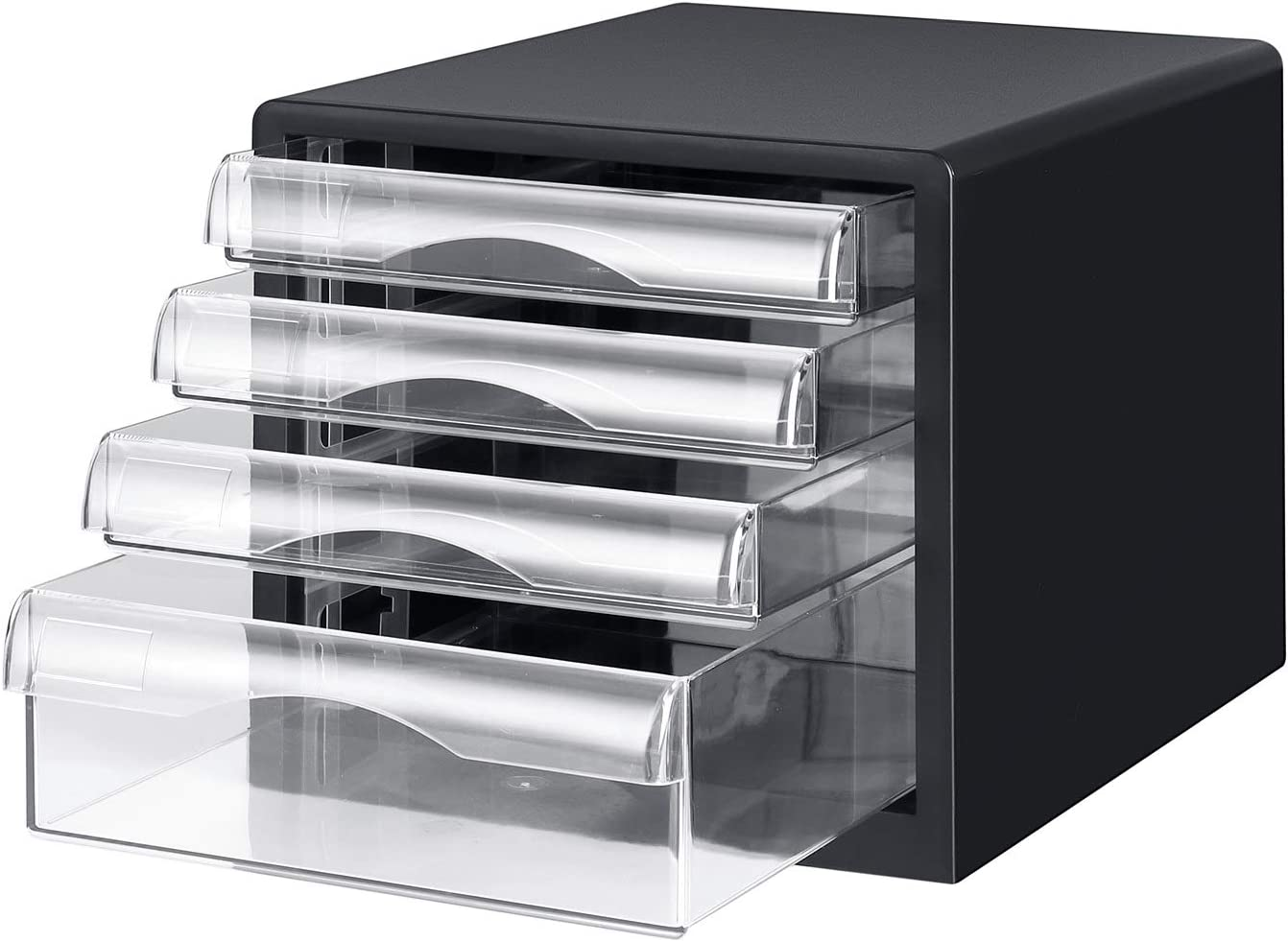 Plastic Desktop 4 Drawers File Organizer Home Office Desktop Organization for Office Supplies A4 Size File Storage Box with 4 Layers Clear Drawers Small Office Filling Cabinet for Paper Documents