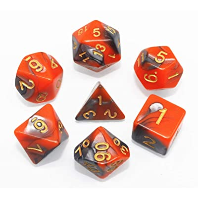 HD DND Dice Set RPG Red & Gray 7-Die Dice Set Fit Dungeons and Dragons(D&D) Pathfinder MTG Table Game Role Playing Games Polyhedral Dice with Dice Pouch: Toys & Games