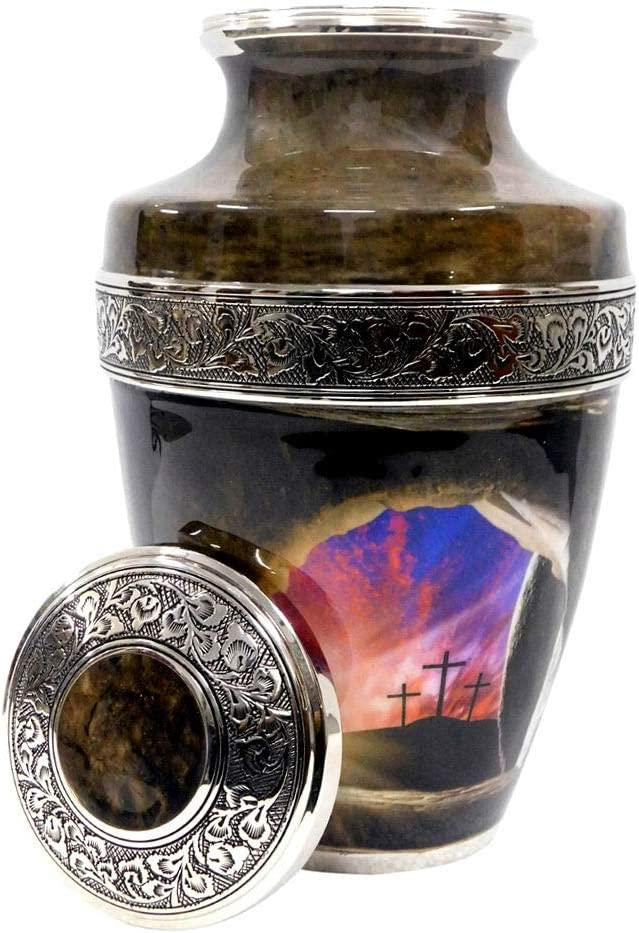 Empty Tomb at Sunrise-100% Brass,Silver Cremation Urns for Adult Ashes(Silver)