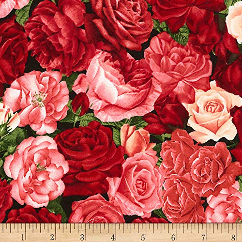 Timeless Treasures Rose Garden Packed Roses Rose Fabric by The - Rose Fabric Garden