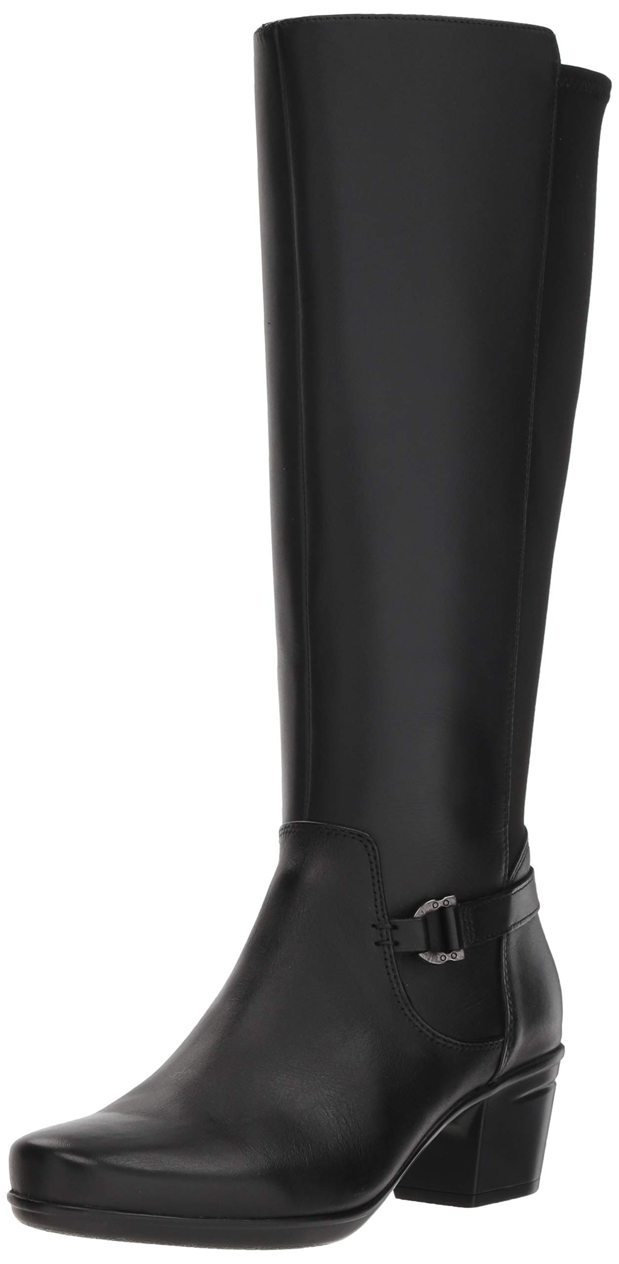 Clarks Women's Emslie March Fashion Boot, Black Leather, 7 M US by CLARKS